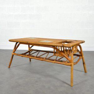 Table basse rotin et céramique vintage 12