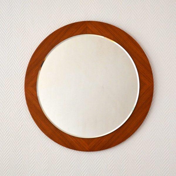 Miroir rond scandinave teck 1960s