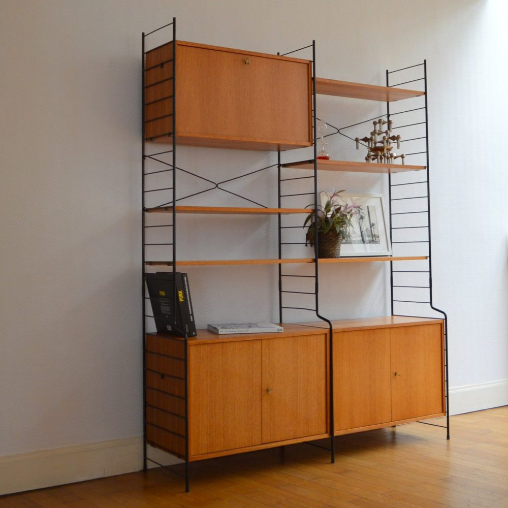 biblioth que tag res modulables whb 1960s. Black Bedroom Furniture Sets. Home Design Ideas