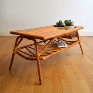 Table basse rotin et céramique 1960 vintage 10