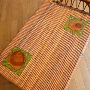 Table basse rotin et céramique 1960 vintage 13