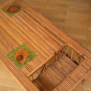 Table basse rotin et céramique 1960 vintage 14