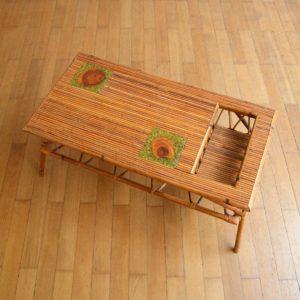 Table basse rotin et céramique 1960 vintage 16