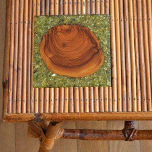 Table basse rotin et céramique 1960 vintage 18