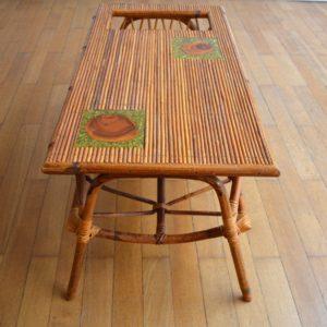 Table basse rotin et céramique 1960 vintage 23