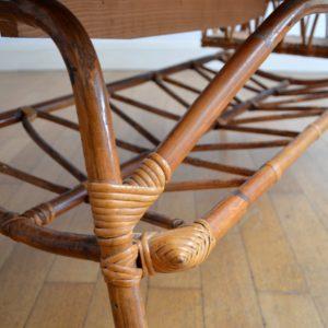 Table basse rotin et céramique 1960 vintage 27