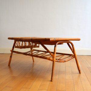 Table basse rotin et céramique 1960 vintage 32