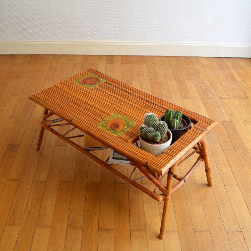 Table basse en rotin double plateau 1950s
