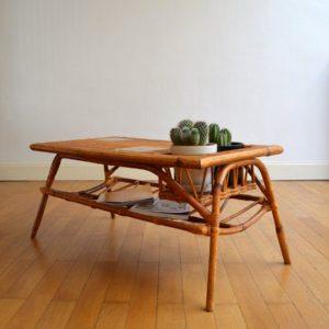Table basse rotin et céramique 1960 vintage 6