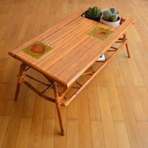 Table basse rotin et céramique 1960 vintage 9