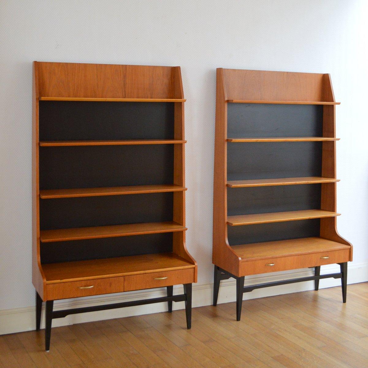 bibliothèque modulable sur pieds scandinave 1960s