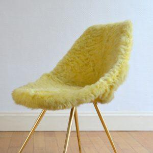 Chaise moumoute 1950 vintage 12