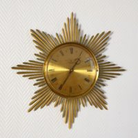 Horloge murale soleil laiton 1950 vintage 1
