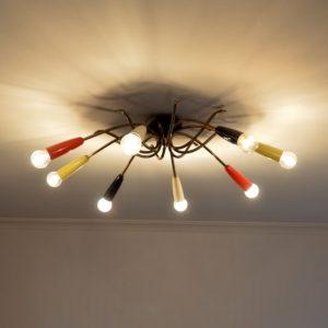 Plafonnier : Lustre araignée 1950 vintage 25