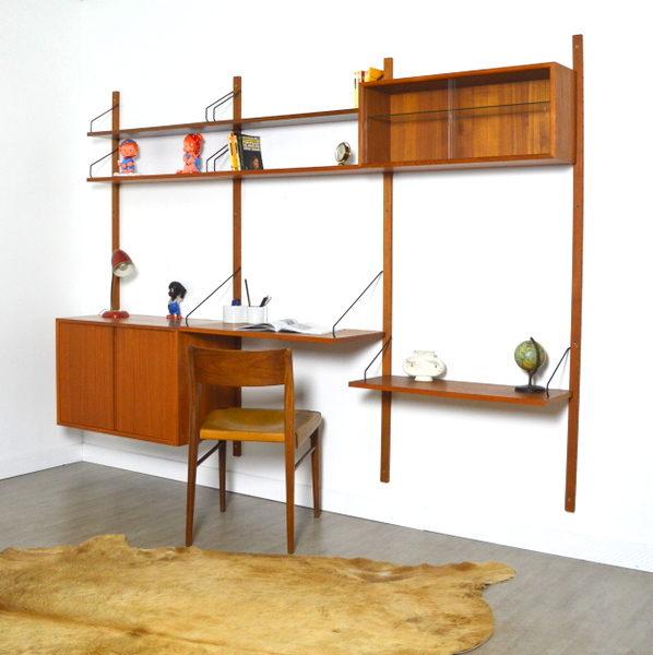 Bibliothèque – Bureau modulable Poul Cadovius