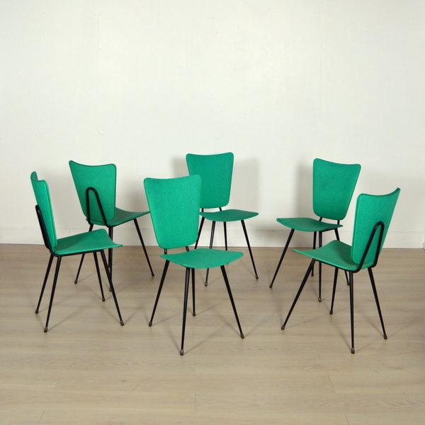 Six chaises design Jacques Hitier vintage