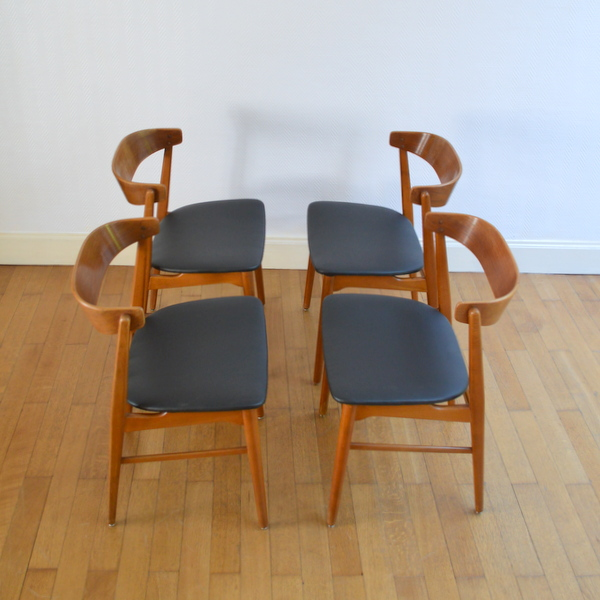 Quatre chaises scandinave années 60