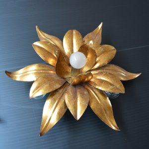 paire d'Appliques fleurs dorés vintage 2