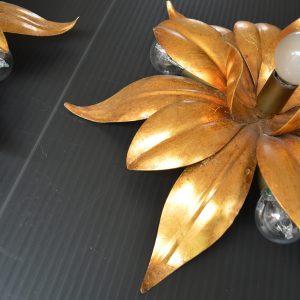 paire d'Appliques fleurs dorés vintage 4