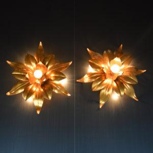 paire d'Appliques fleurs dorés vintage 5