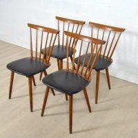 Suite de quatre chaises bistrot années 50 / 60