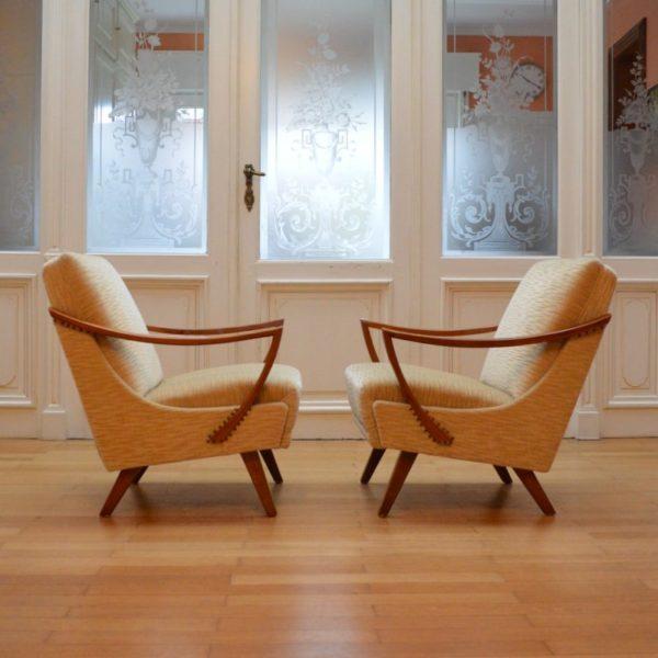 Magnifique Paire de fauteuils années 50