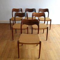 Suite de six chaises Niels O. MØLLER No 71 Palissandre de Rio – 1950