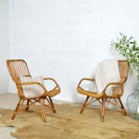 Paire de fauteuils rotin années 60