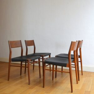 chaises scandinave teck et cuir vintage 1