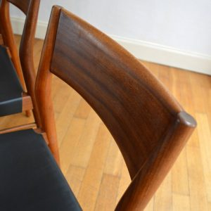 chaises scandinave teck et cuir vintage 16
