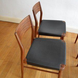 chaises scandinave teck et cuir vintage 5