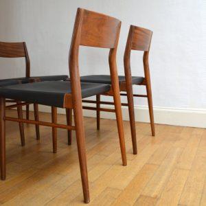 chaises scandinave teck et cuir vintage 6