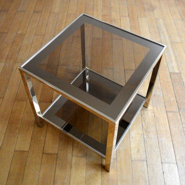 Superbe table basse / Table d'appoint Belgo chrome années 70 / 80