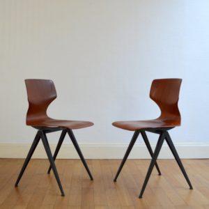 Deux chaises Pagholz pieds compas années 60 vintage 3