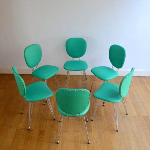 Suite de six chaises années 50