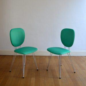 Suite de six chaises vintage pieds Eiffel 14