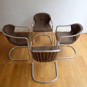 4 chaises chromé design années 60 : 70 vintage 2