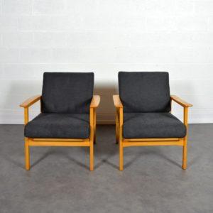 Paire de fauteuils scandinave 1960 vintage 24