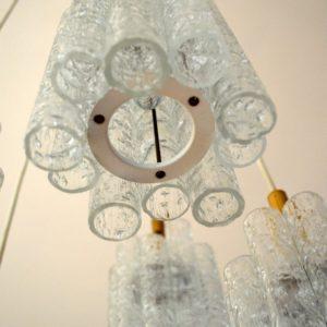 Lustre en Tube verre allemand par Doria 1960 vintage 3
