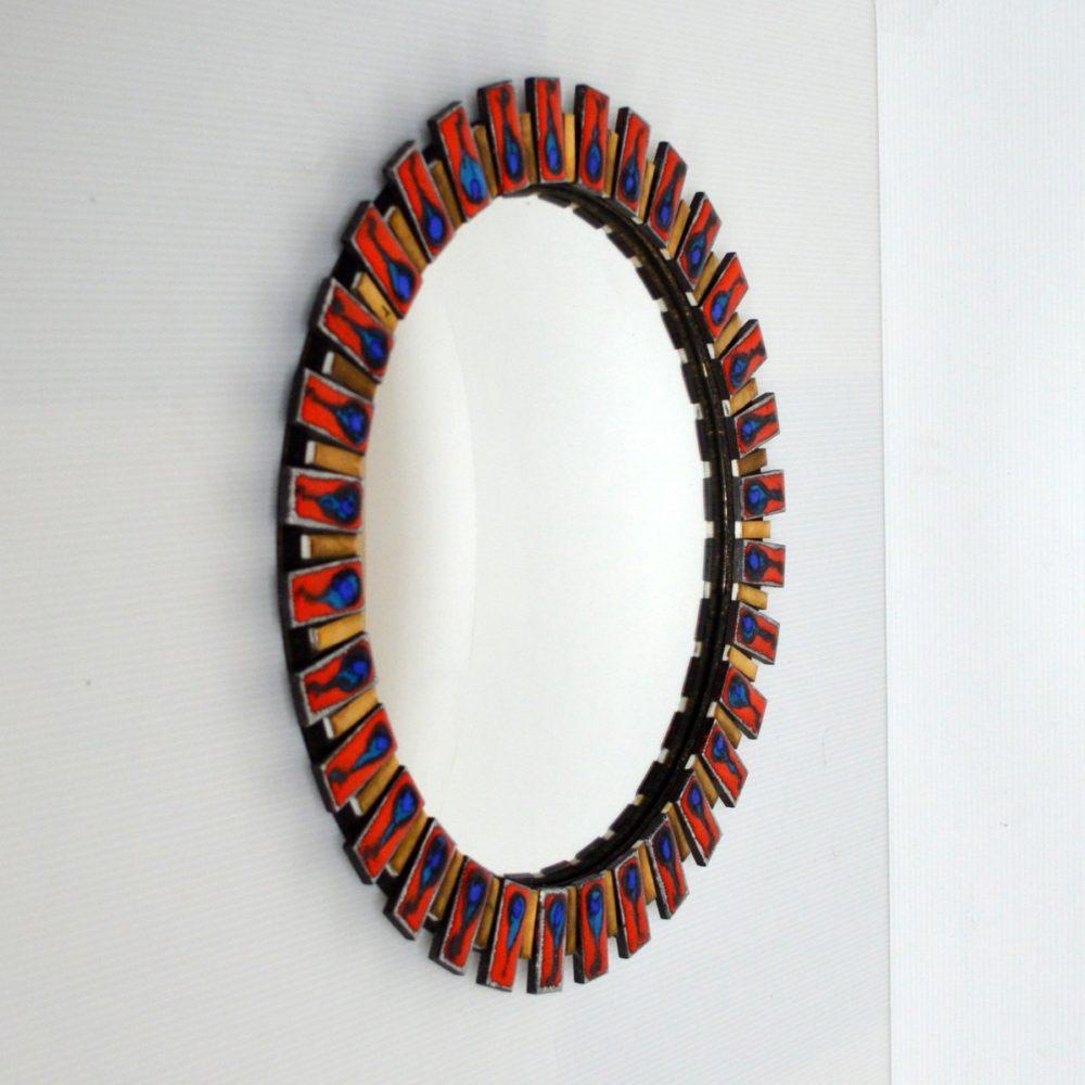 Superbe miroir bombé œil de sorcière années 60