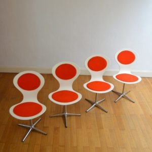 4 chaises Benze années 60 vintage 46