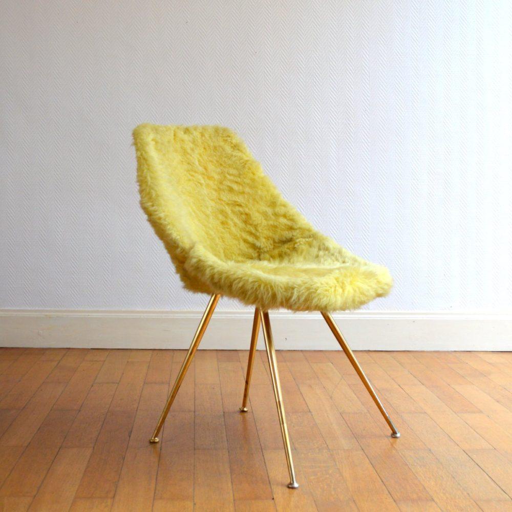 Superbe chaise / Fauteuil moumoute Design 1950s