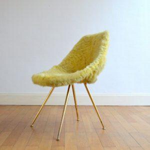 Chaise moumoute 1950 vintage 9