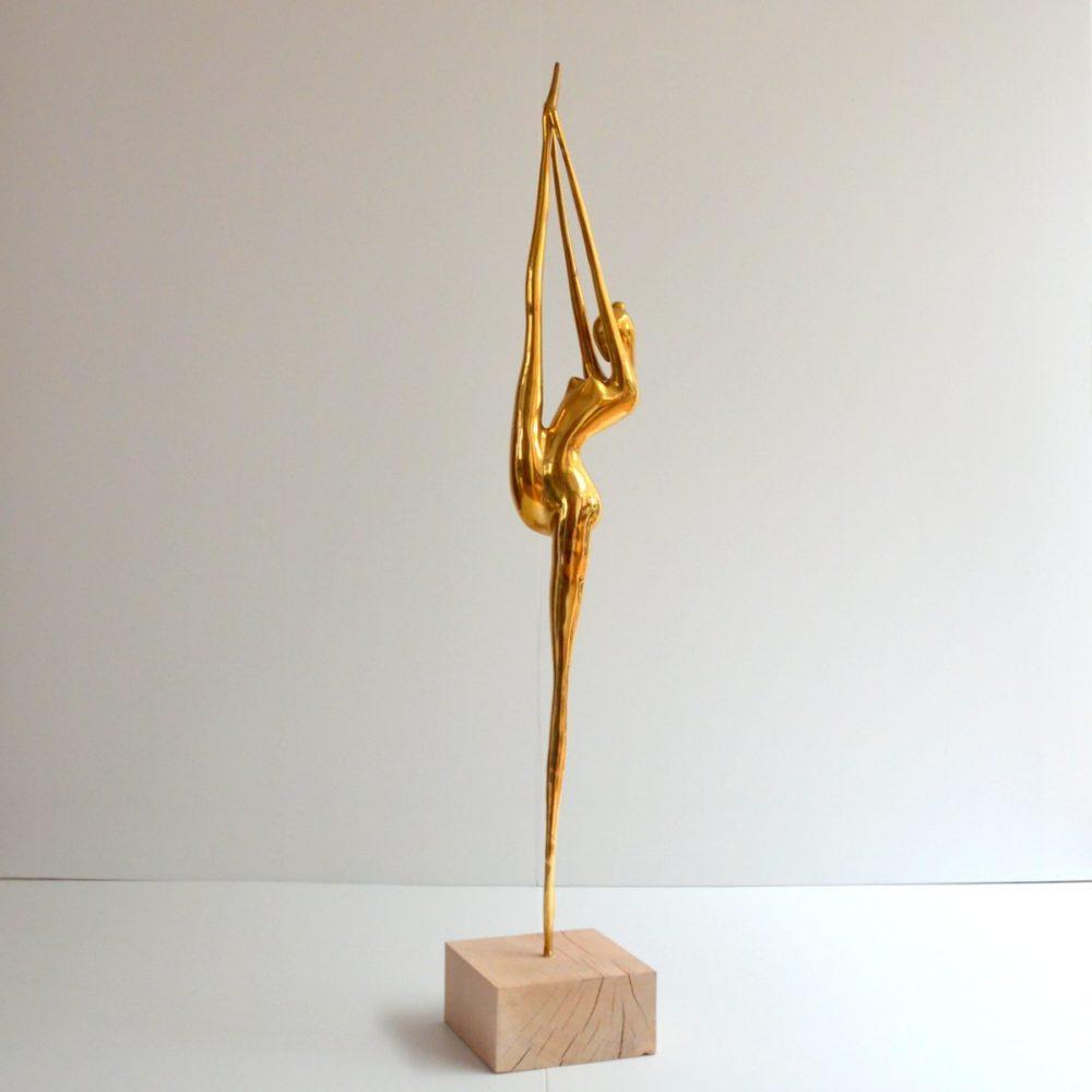Grande Sculpture Danseuse / Ballerine 119 cm en laiton 1960s
