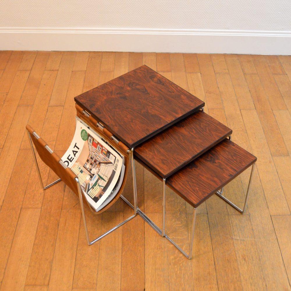 Tables Gigognes en Palissandre avec Porte-revues en Cuir pour Brabantia, 1960s