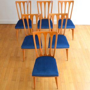 6 chaises Gaston Poisson Art Déco 1950 vintage 1