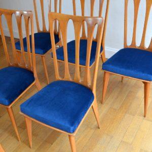 6 chaises Gaston Poisson Art Déco 1950 vintage 15