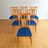 Suite de 6 chaises Gaston Poisson Art Déco 1950s