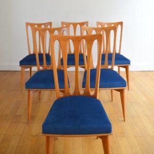 6 chaises Gaston Poisson Art Déco 1950 vintage 5