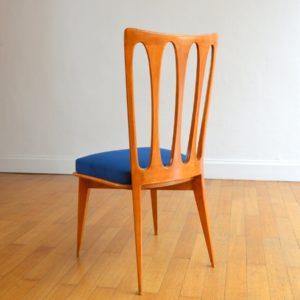 6 chaises Gaston Poisson Art Déco 1950 vintage 58